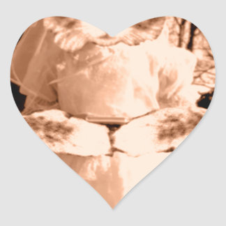 Cat Gal Wedding Heart Sticker