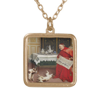 Cat Games - Cardinal Watching Cats at Play Custom Jewelry