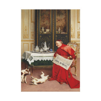 Cat Games - Cardinal Watching Cats by Croegaert Stretched Canvas Prints