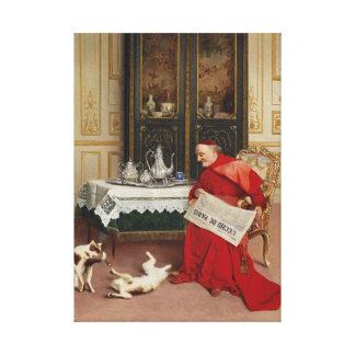 Cat Games - Cardinal Watching Cats by Croegaert Canvas Print