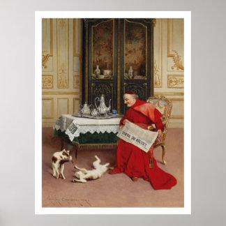 Cat Games - Cardinal Watching Cats by Croegaert Poster