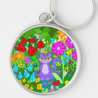 Cat Garden Colorful Flowers Butterflies Ladybugs Silver-Colored Round Keychain