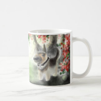 Cat, German Shepherd Pup, Red Flowers Mug