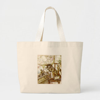 Cat Getting into Mommy's Stuff Artwork Large Tote Bag