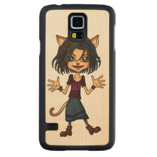 cat girl carved® maple galaxy s5 slim case