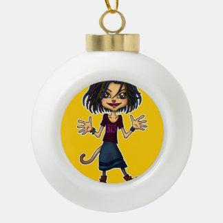 cat girl ceramic ball christmas ornament