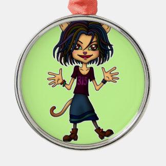 cat girl metal ornament