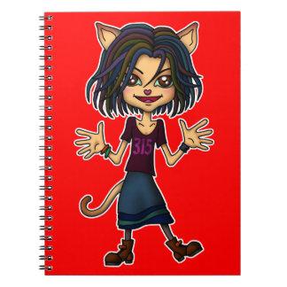 cat girl spiral note book