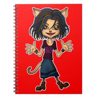 cat girl spiral note books