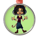 cat girl round metal christmas ornament