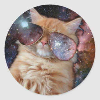 Cat Glasses - sunglasses cat - cat space Classic Round Sticker