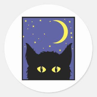 Cat Glowing Eyes Classic Round Sticker
