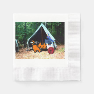 Cat Goes Camping Disposable Napkin