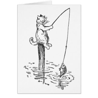 Cat Goes Fishing With a Pole Card