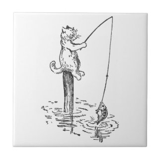 Cat Goes Fishing With a Pole Ceramic Tile
