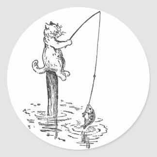 Cat Goes Fishing With a Pole Classic Round Sticker