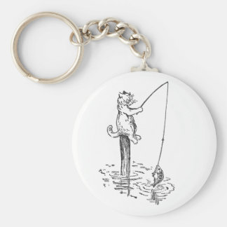 Cat Goes Fishing With a Pole Keychain
