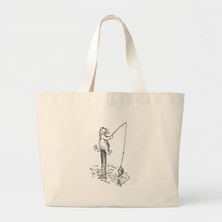 Cat Goes Fishing With a Pole Large Tote Bag