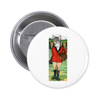 Cat goes Fox Hunting HUNT CAT Pinback Buttons