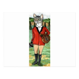 Cat goes Fox Hunting HUNT CAT Postcard