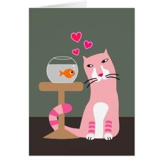 Cat & Goldfish Valentine Greeting Card