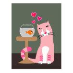 Cat & Goldfish Valentine Postcard