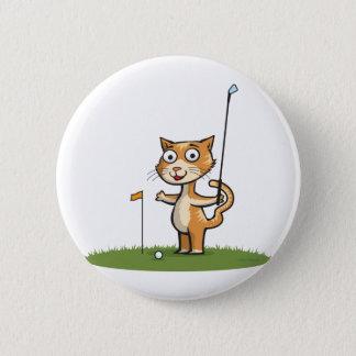 Cat Golf Pinback Button