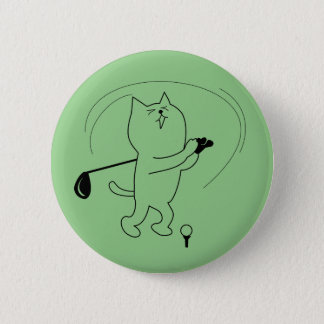 CAT GOLFER SHOT GIFT, FUNNY GOLF STROKE PINBACK BUTTON