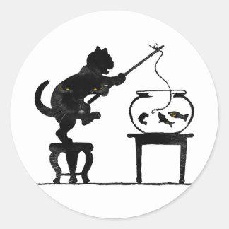 Cat Gone Fishing Classic Round Sticker