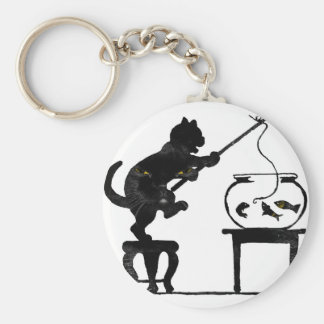 Cat Gone Fishing Keychain