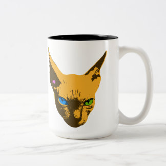 Cat Grabs Back Pop Art Portrait Two-Tone Coffee Mug