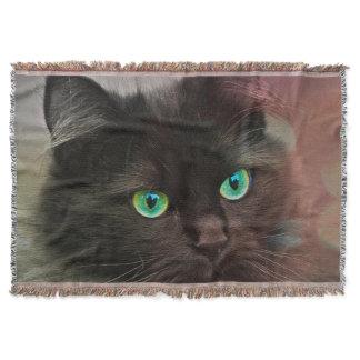 Cat Green Eyes Throw