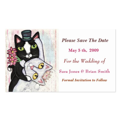 Cat Groom Bride Save The Date Wedding Card Double Sided Standard Busine