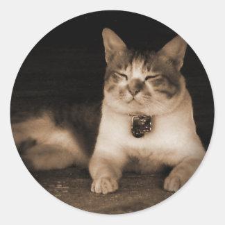 Cat Guardian Classic Round Sticker