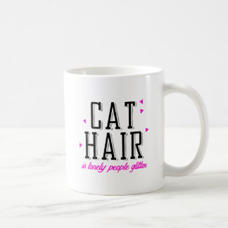 Cat hair is lonely people glitter - Cat Humor Classic White Coffee Mug