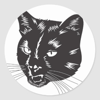 Cat Halloween Meou Whiskers hiss omen Classic Round Sticker
