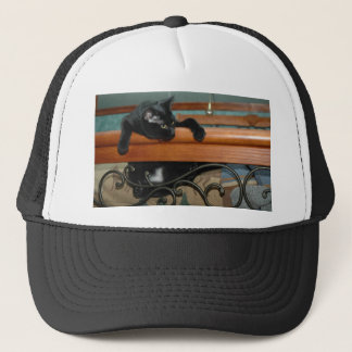 Cat-hangin in there trucker hat