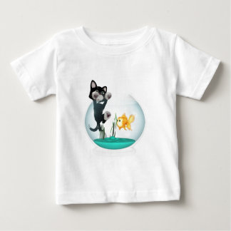 cat hanging on fishbowl baby T-Shirt