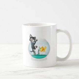 cat hanging on fishbowl coffee mug