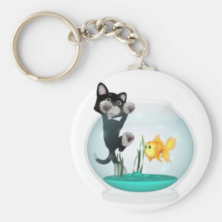cat hanging on fishbowl keychain