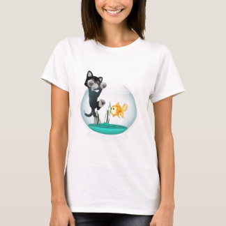 cat hanging on fishbowl T-Shirt