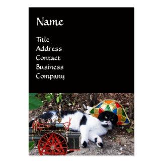 CAT , HARLEQUIN HAT AND VINTAGE STEAM LOCOMOTIVE LARGE BUSINESS CARD