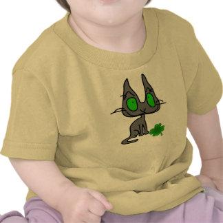 Cat has a four leaf clover shirt