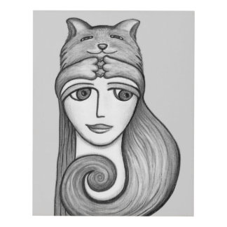 Cat Hat Girl Black and White Panel Wall Art