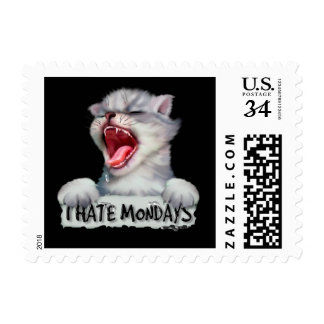 "CAT HATE MONDAY CARTOON  GREEN Small 1.8"" x 1.3"" Postage"