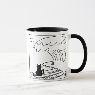 Cat Hater Surfing Cartoon Mug