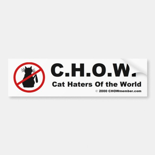 Cat Haters Of the World Bumper Sticker