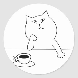 Cat Having a Cup of Coffee, Thinking ... Classic Round Sticker