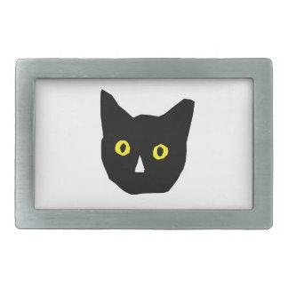 cat head black yellow eyes cartoon belt buckle