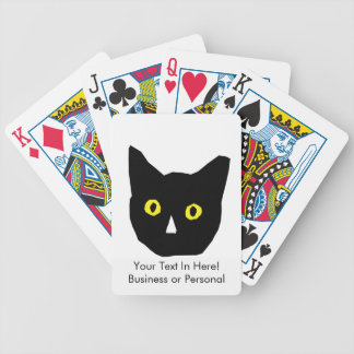 cat head black yellow eyes cartoon bicycle playing cards
